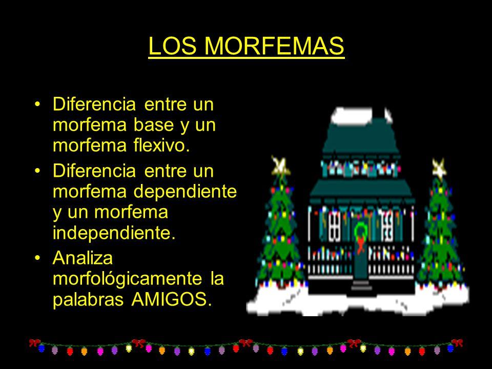 LOS MORFEMAS Diferencia entre un morfema base y un morfema flexivo. Diferencia entre un morfema dependiente y un morfema independiente. Analiza morfol