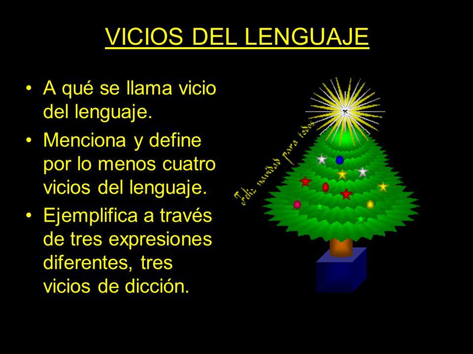 VICIOS DEL LENGUAJE A qué se llama vicio del lenguaje. Menciona y define por lo menos cuatro vicios del lenguaje. Ejemplifica a través de tres expresi