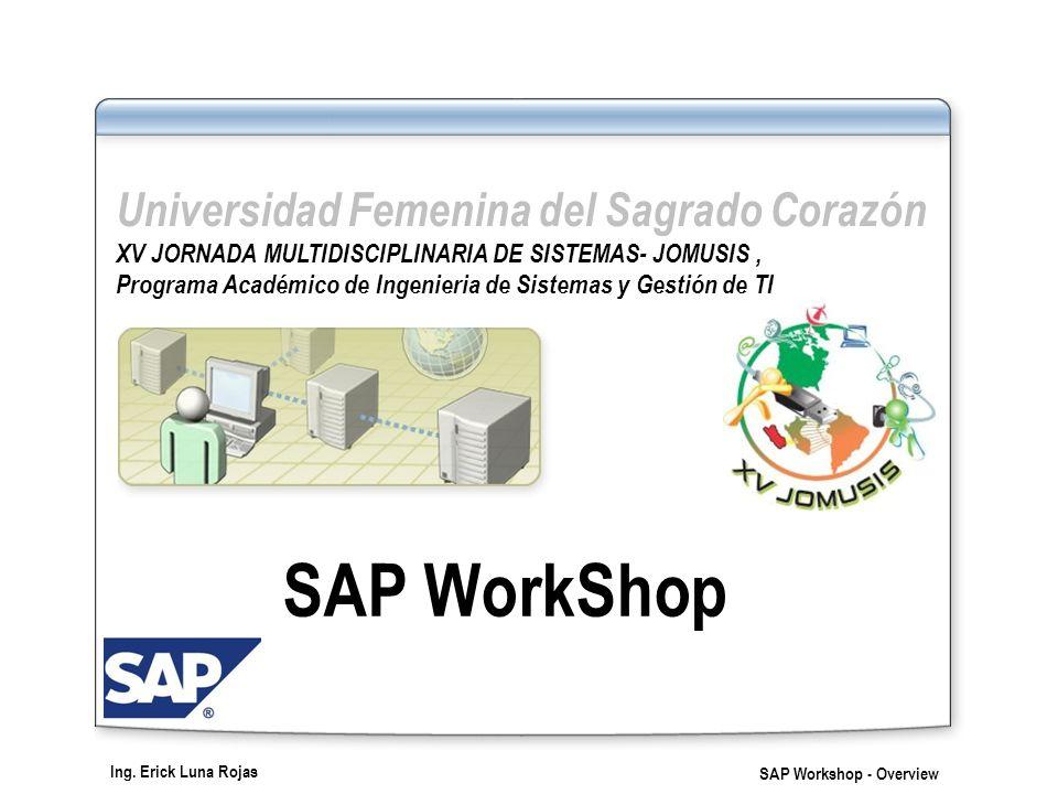 Ing. Erick Luna Rojas SAP Workshop - Overview Lección 2: Productos del SAP