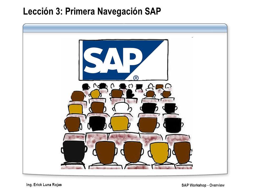Ing. Erick Luna Rojas SAP Workshop - Overview Lección 3: Primera Navegación SAP