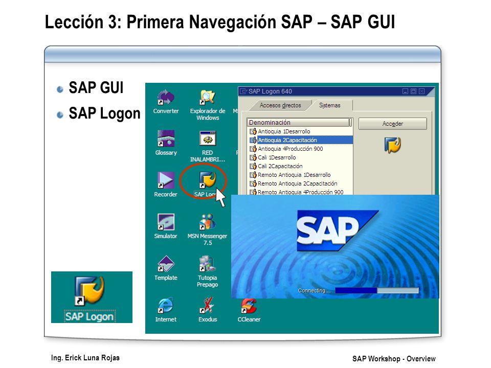 Ing. Erick Luna Rojas SAP Workshop - Overview Lección 3: Primera Navegación SAP – SAP GUI SAP GUI SAP Logon