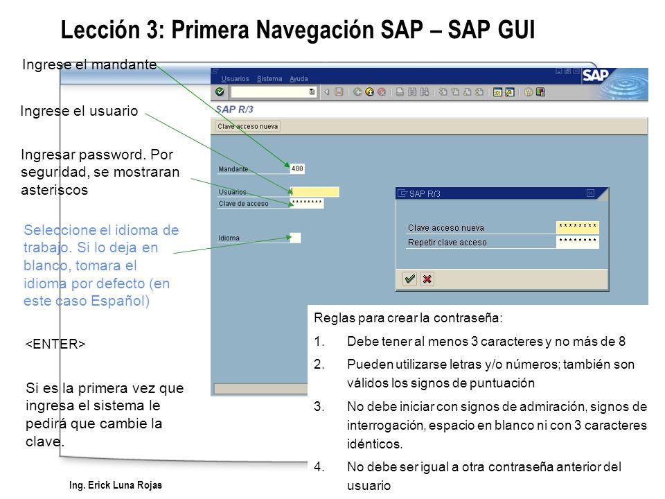 Ing. Erick Luna Rojas SAP Workshop - Overview Ingrese el usuario Si es la primera vez que ingresa el sistema le pedirá que cambie la clave. Reglas par