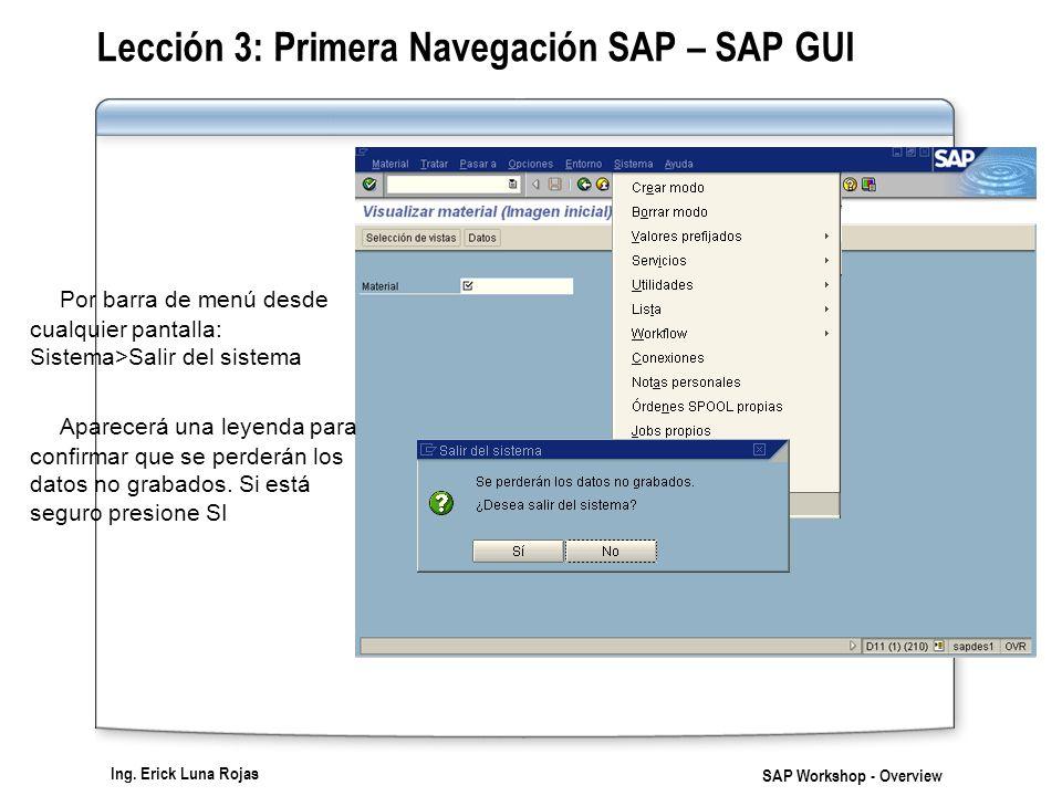 Ing. Erick Luna Rojas SAP Workshop - Overview Lección 3: Primera Navegación SAP – SAP GUI Por barra de menú desde cualquier pantalla: Sistema>Salir de