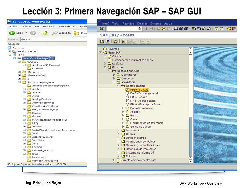 Ing. Erick Luna Rojas SAP Workshop - Overview Lección 3: Primera Navegación SAP – SAP GUI
