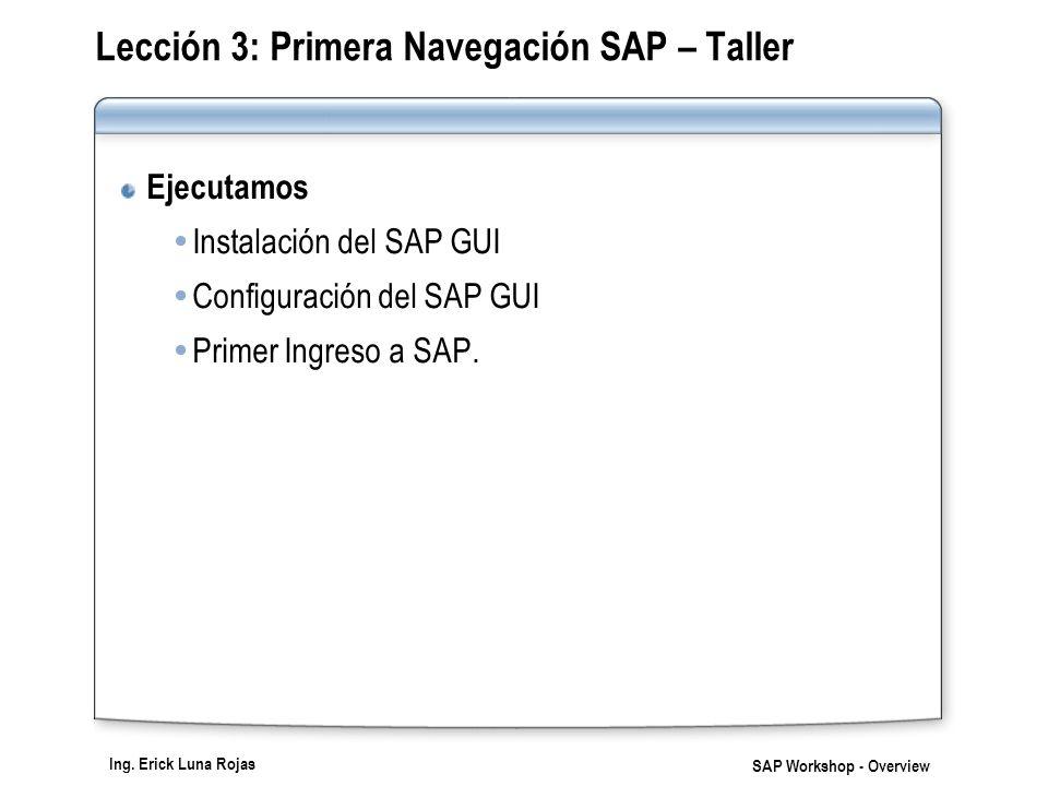 Ing. Erick Luna Rojas SAP Workshop - Overview Lección 3: Primera Navegación SAP – Taller Ejecutamos Instalación del SAP GUI Configuración del SAP GUI