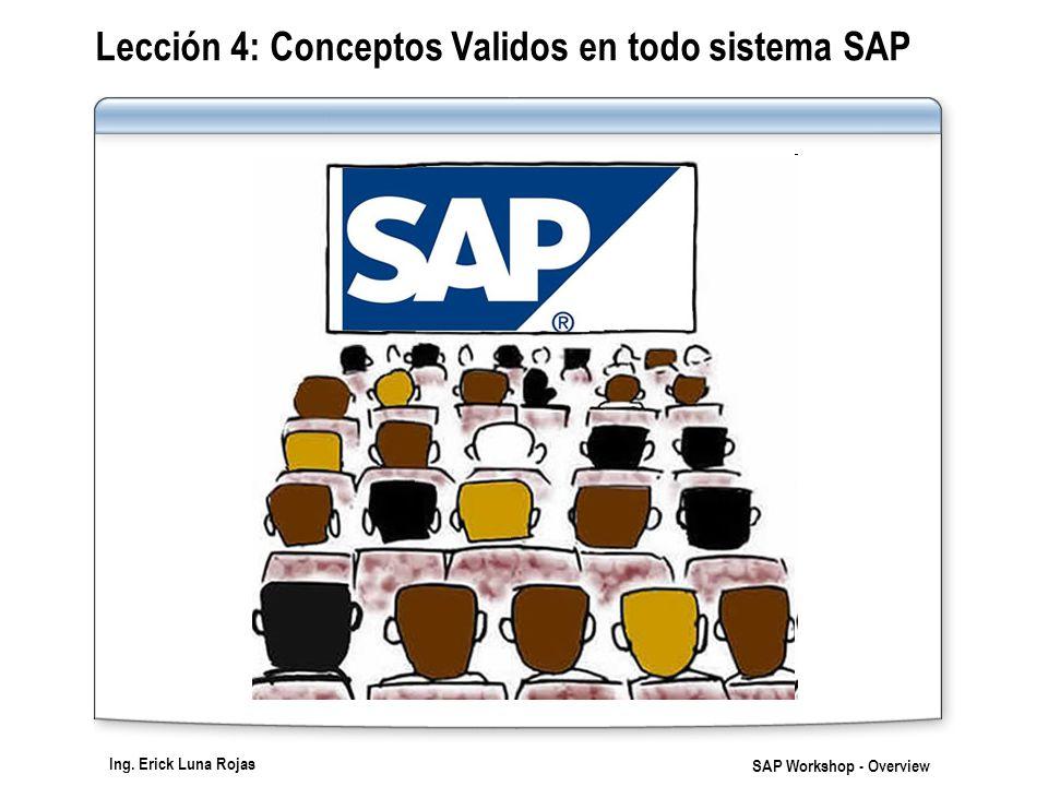 Ing. Erick Luna Rojas SAP Workshop - Overview Lección 4: Conceptos Validos en todo sistema SAP