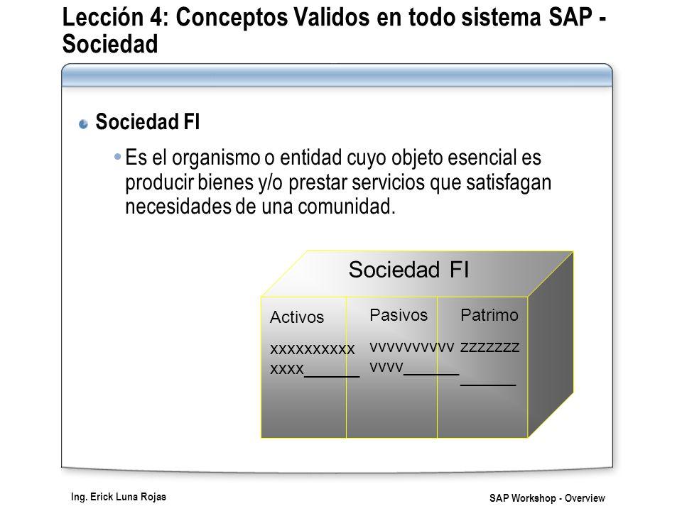 Ing. Erick Luna Rojas SAP Workshop - Overview Lección 4: Conceptos Validos en todo sistema SAP - Sociedad Sociedad FI Es el organismo o entidad cuyo o