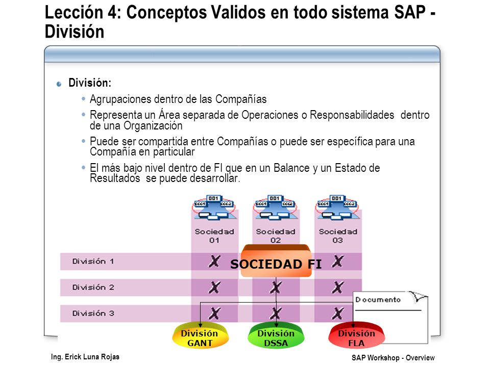 Ing. Erick Luna Rojas SAP Workshop - Overview Lección 4: Conceptos Validos en todo sistema SAP - División División: Agrupaciones dentro de las Compañí