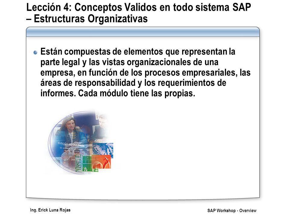 Ing. Erick Luna Rojas SAP Workshop - Overview Lección 4: Conceptos Validos en todo sistema SAP – Estructuras Organizativas Están compuestas de element