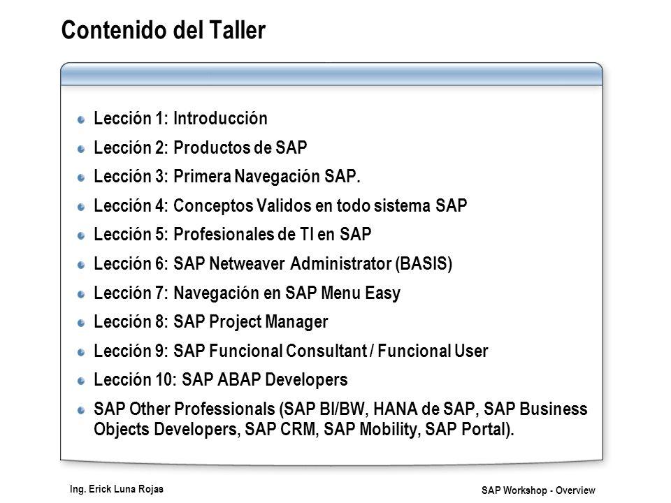 Ing. Erick Luna Rojas SAP Workshop - Overview Contenido del Taller Lección 1: Introducción Lección 2: Productos de SAP Lección 3: Primera Navegación S