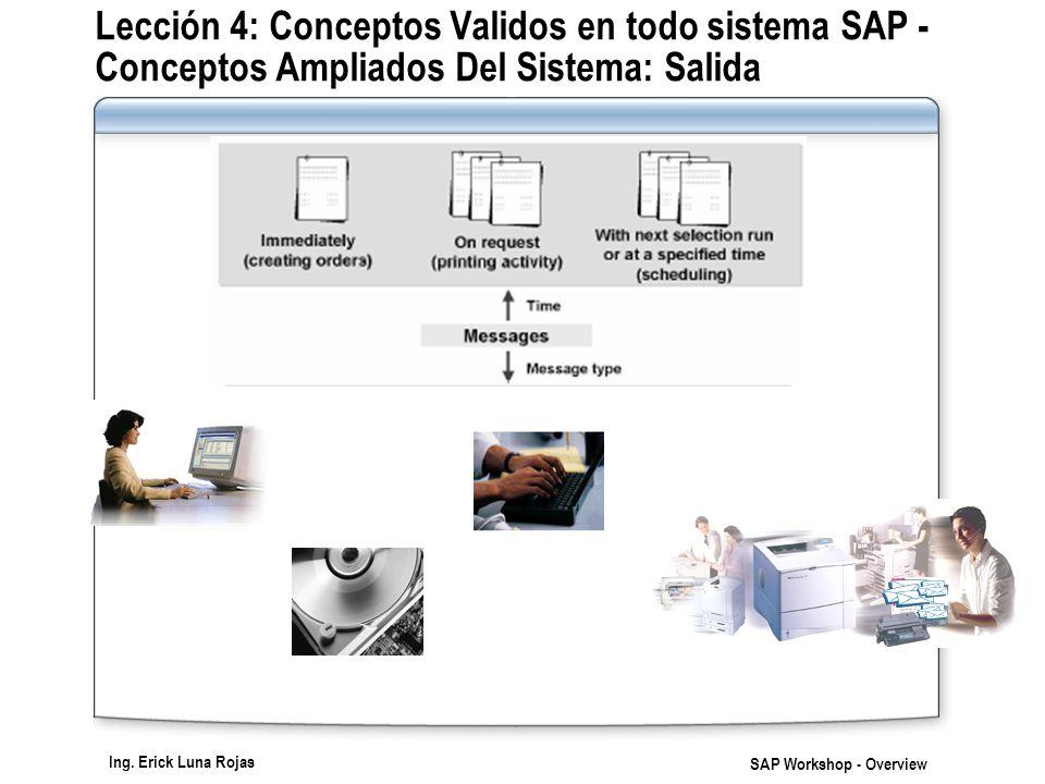 Ing. Erick Luna Rojas SAP Workshop - Overview Lección 4: Conceptos Validos en todo sistema SAP - Conceptos Ampliados Del Sistema: Salida