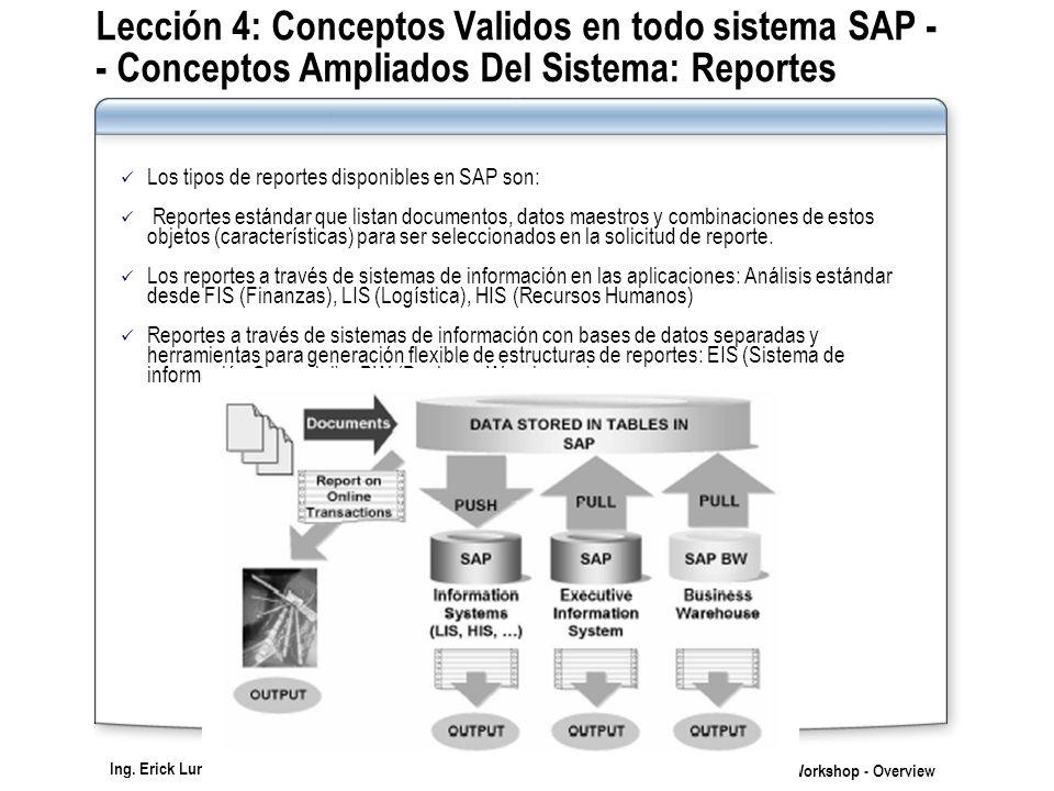 Ing. Erick Luna Rojas SAP Workshop - Overview Lección 4: Conceptos Validos en todo sistema SAP - - Conceptos Ampliados Del Sistema: Reportes Los tipos