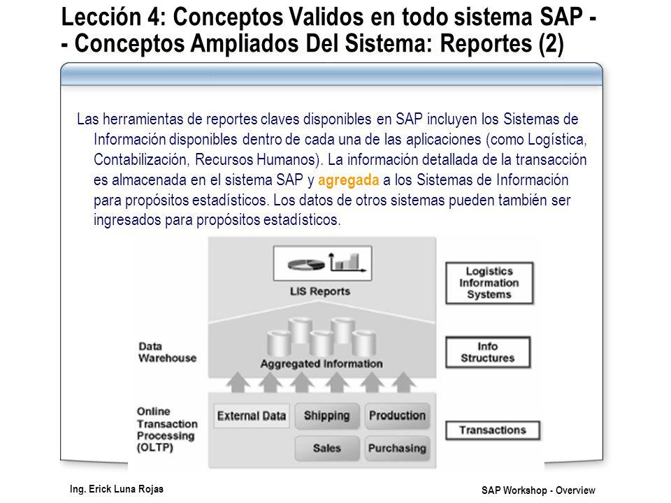 Ing. Erick Luna Rojas SAP Workshop - Overview Lección 4: Conceptos Validos en todo sistema SAP - - Conceptos Ampliados Del Sistema: Reportes (2) Las h