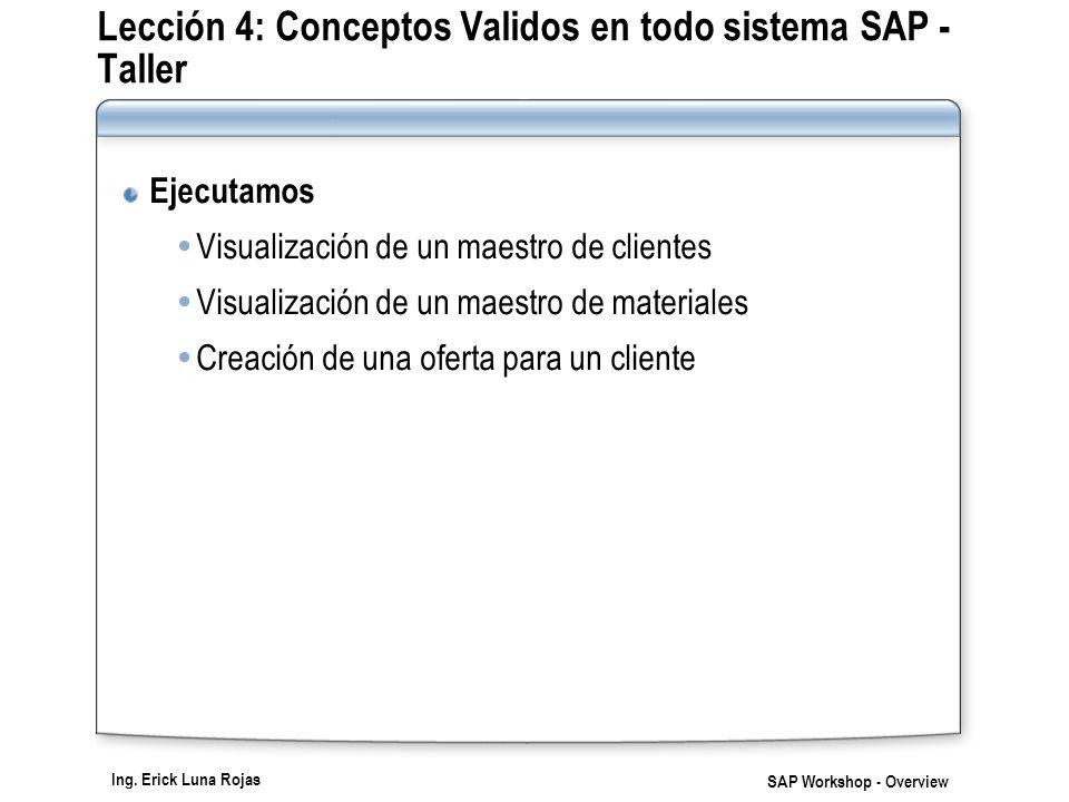 Ing. Erick Luna Rojas SAP Workshop - Overview Lección 4: Conceptos Validos en todo sistema SAP - Taller Ejecutamos Visualización de un maestro de clie