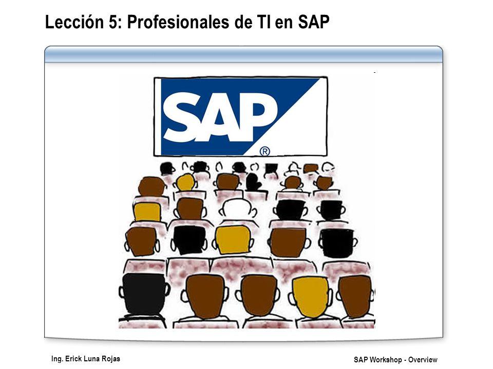 Ing. Erick Luna Rojas SAP Workshop - Overview Lección 5: Profesionales de TI en SAP