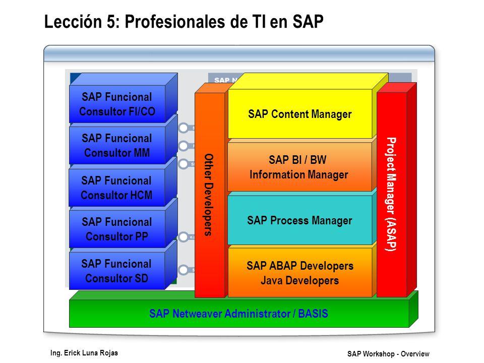 Ing. Erick Luna Rojas SAP Workshop - Overview Lección 5: Profesionales de TI en SAP SAP Netweaver Administrator / BASIS SAP Funcional Consultor SD SAP