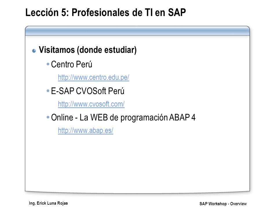 Ing. Erick Luna Rojas SAP Workshop - Overview Lección 5: Profesionales de TI en SAP Visitamos (donde estudiar) Centro Perú http://www.centro.edu.pe/ E