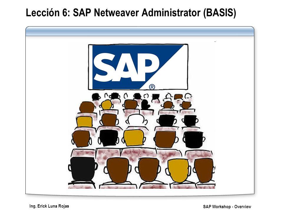 Ing. Erick Luna Rojas SAP Workshop - Overview Lección 6: SAP Netweaver Administrator (BASIS)