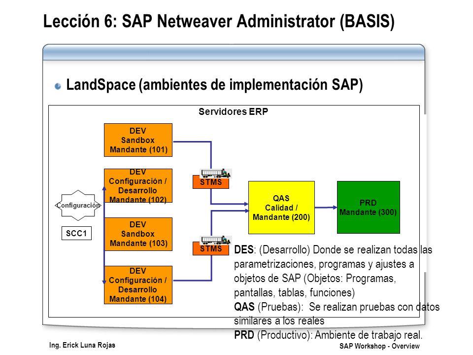 Ing. Erick Luna Rojas SAP Workshop - Overview Servidores ERP DEV Configuración / Desarrollo Mandante (104) QAS Calidad / Mandante (200) PRD Mandante (
