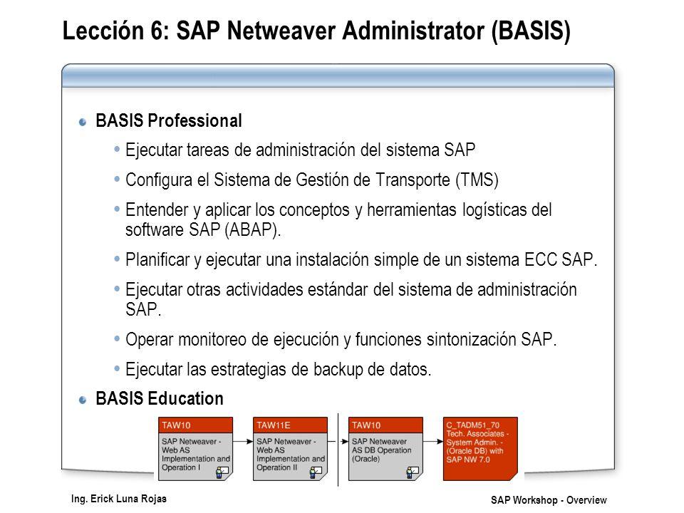 Ing. Erick Luna Rojas SAP Workshop - Overview Lección 6: SAP Netweaver Administrator (BASIS) BASIS Professional Ejecutar tareas de administración del