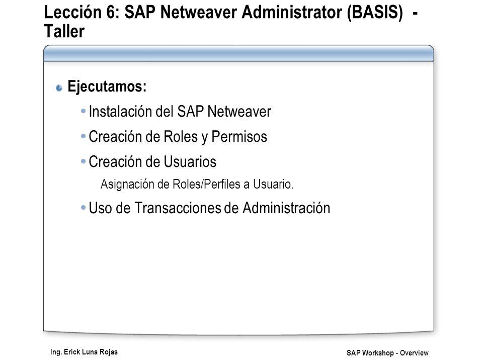 Ing. Erick Luna Rojas SAP Workshop - Overview Lección 6: SAP Netweaver Administrator (BASIS) - Taller Ejecutamos: Instalación del SAP Netweaver Creaci