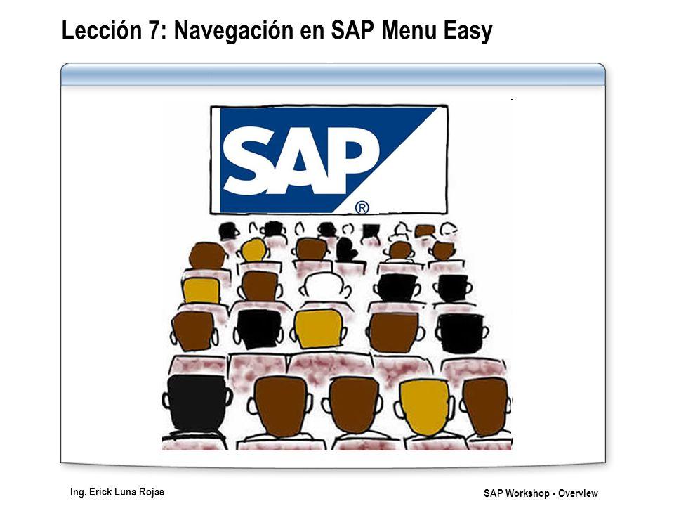 Ing. Erick Luna Rojas SAP Workshop - Overview Lección 7: Navegación en SAP Menu Easy