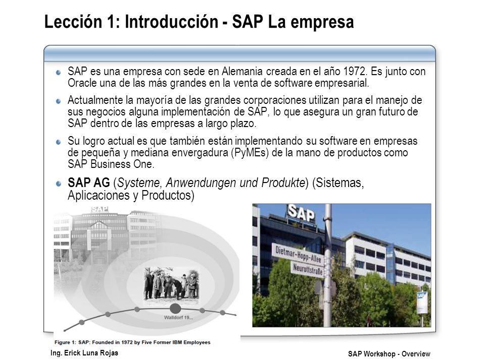 Ing. Erick Luna Rojas SAP Workshop - Overview Lección 1: Introducción - SAP La empresa SAP es una empresa con sede en Alemania creada en el año 1972.