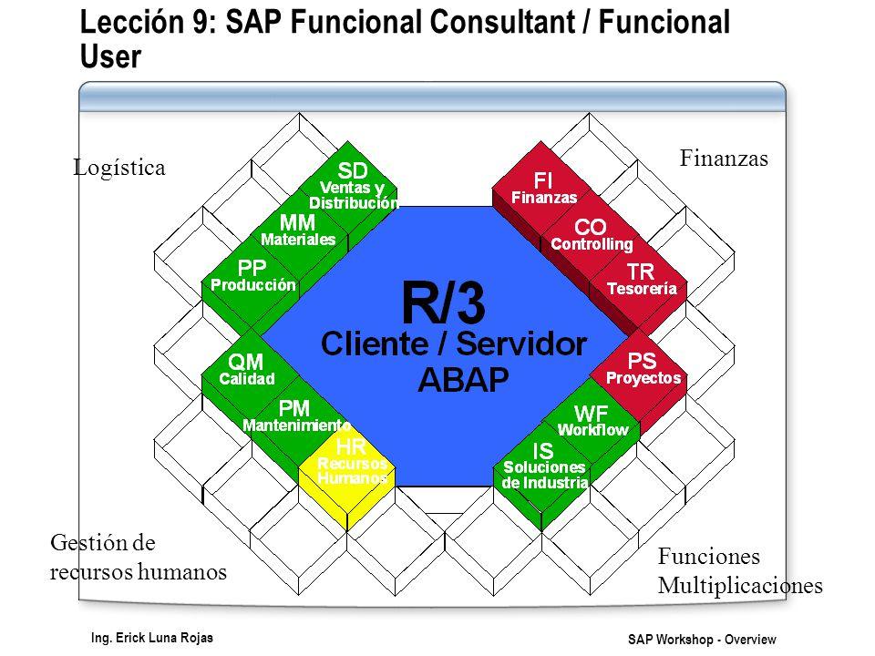 Ing. Erick Luna Rojas SAP Workshop - Overview Finanzas Logística Gestión de recursos humanos Funciones Multiplicaciones Lección 9: SAP Funcional Consu