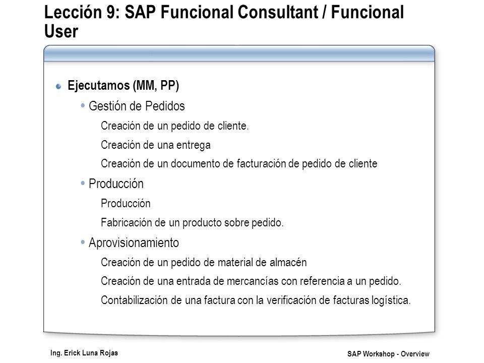 Ing. Erick Luna Rojas SAP Workshop - Overview Lección 9: SAP Funcional Consultant / Funcional User Ejecutamos (MM, PP) Gestión de Pedidos Creación de