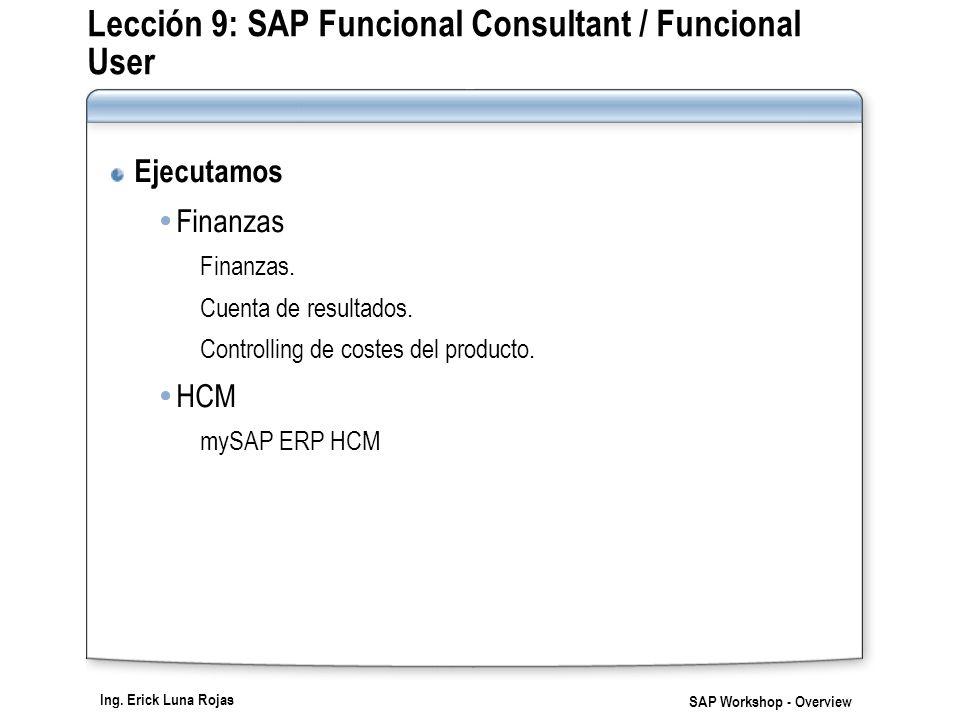 Ing. Erick Luna Rojas SAP Workshop - Overview Lección 9: SAP Funcional Consultant / Funcional User Ejecutamos Finanzas Finanzas. Cuenta de resultados.