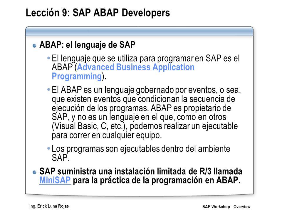 Ing. Erick Luna Rojas SAP Workshop - Overview Lección 9: SAP ABAP Developers ABAP: el lenguaje de SAP El lenguaje que se utiliza para programar en SAP