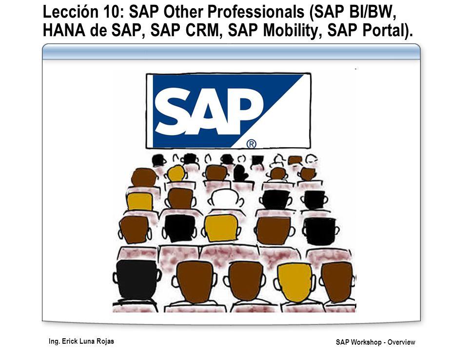 Ing. Erick Luna Rojas SAP Workshop - Overview Lección 10: SAP Other Professionals (SAP BI/BW, HANA de SAP, SAP CRM, SAP Mobility, SAP Portal).