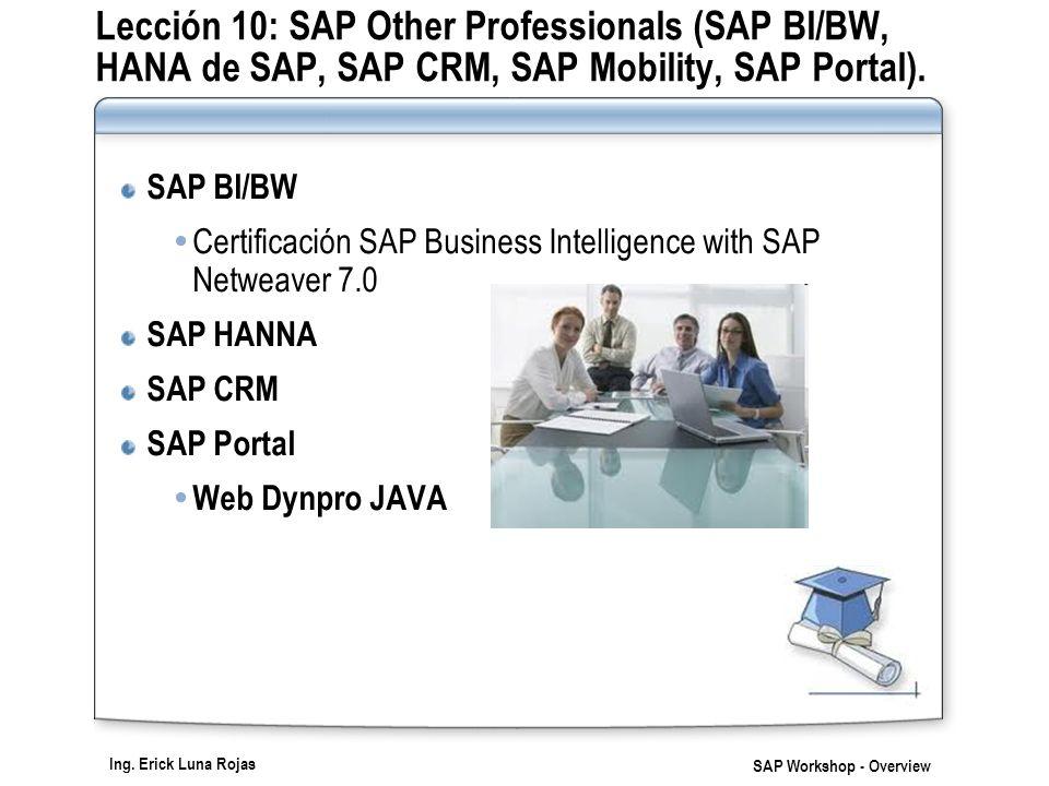 Ing. Erick Luna Rojas SAP Workshop - Overview Lección 10: SAP Other Professionals (SAP BI/BW, HANA de SAP, SAP CRM, SAP Mobility, SAP Portal). SAP BI/