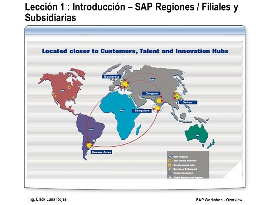 Ing. Erick Luna Rojas SAP Workshop - Overview Lección 1 : Introducción – SAP Regiones / Filiales y Subsidiarias