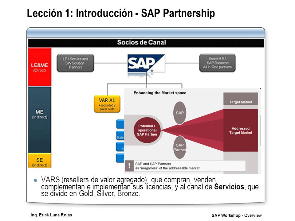 Ing. Erick Luna Rojas SAP Workshop - Overview Lección 1: Introducción - SAP Partnership VARS (resellers de valor agregado), que compran, venden, compl