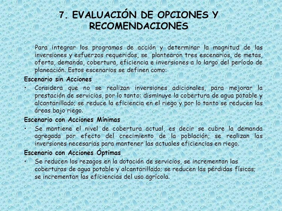 7. EVALUACIÓN DE OPCIONES Y RECOMENDACIONES Para integrar los programas de acción y determinar la magnitud de las inversiones y esfuerzos requeridos,