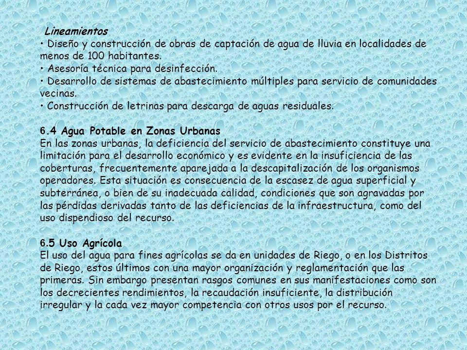 Lineamientos Acciones que reducen la demanda Desarrollo agrícola tecnificado.