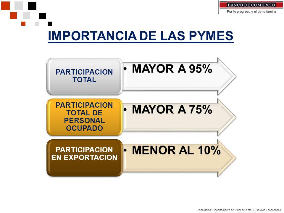MAYOR A 95% PARTICIPACION TOTAL MAYOR A 75% PARTICIPACION TOTAL DE PERSONAL OCUPADO MENOR AL 10% PARTICIPACION EN EXPORTACION IMPORTANCIA DE LAS PYMES