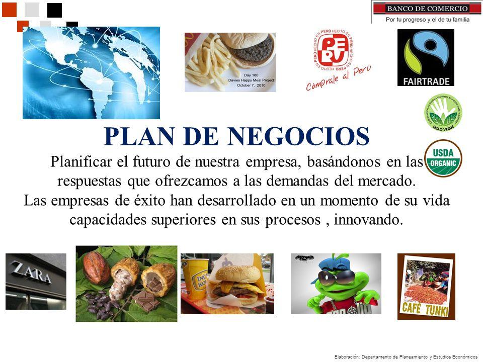Elaboración: Departamento de Planeamiento y Estudios Económicos PLAN DE NEGOCIOS Planificar el futuro de nuestra empresa, basándonos en las respuestas que ofrezcamos a las demandas del mercado.