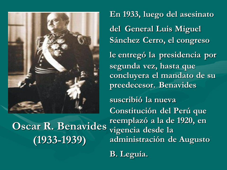 En 1933, luego del asesinato del General Luis Miguel Sánchez Cerro, el congreso le entregó la presidencia por segunda vez, hasta que concluyera el man