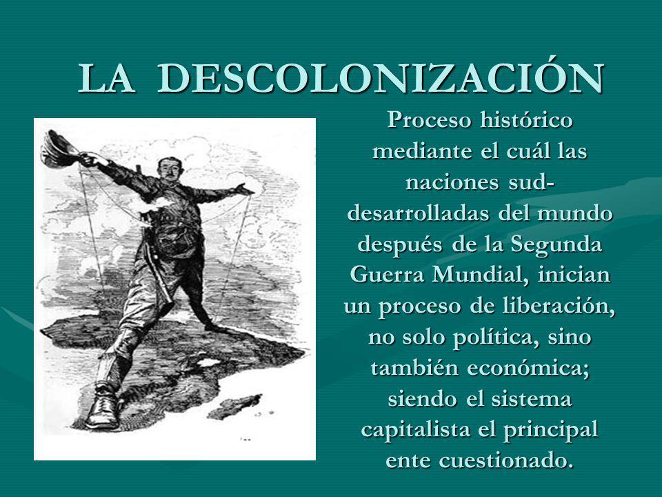 LA DESCOLONIZACIÓN Proceso histórico mediante el cuál las naciones sud- desarrolladas del mundo después de la Segunda Guerra Mundial, inician un proce