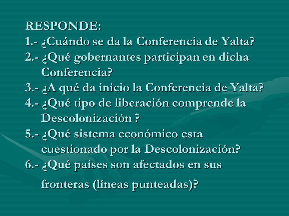 RESPONDE: 1.- ¿Cuándo se da la Conferencia de Yalta? 2.- ¿Qué gobernantes participan en dicha Conferencia? 3.- ¿A qué da inicio la Conferencia de Yalt