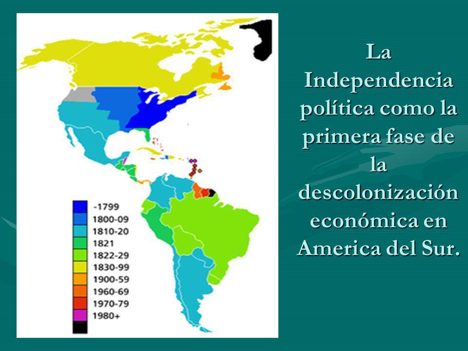 La Independencia política como la primera fase de la descolonización económica en America del Sur.