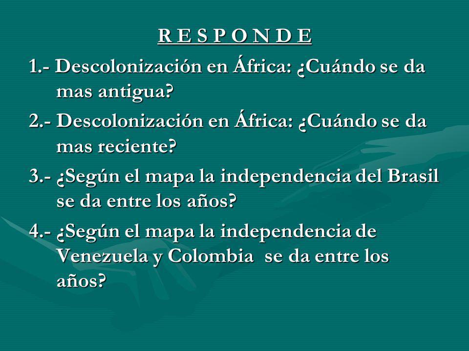 R E S P O N D E 1.- Descolonización en África: ¿Cuándo se da mas antigua? 2.- Descolonización en África: ¿Cuándo se da mas reciente? 3.- ¿Según el map