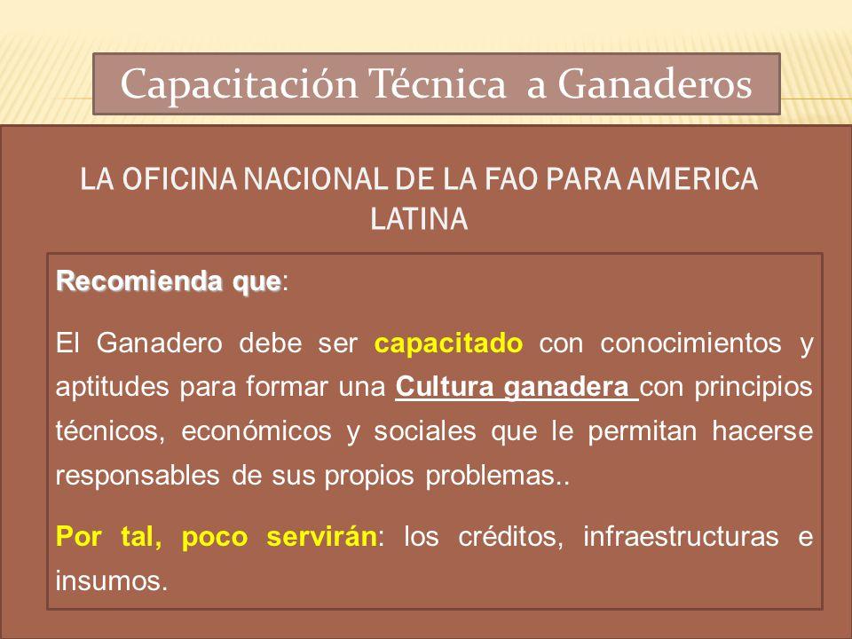 LA OFICINA NACIONAL DE LA FAO PARA AMERICA LATINA Recomienda que Recomienda que: El Ganadero debe ser capacitado con conocimientos y aptitudes para fo