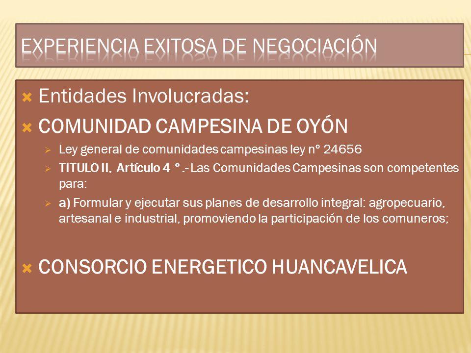 Entidades Involucradas: COMUNIDAD CAMPESINA DE OYÓN Ley general de comunidades campesinas ley nº 24656 TITULO II, Artículo 4 °.- Las Comunidades Campe