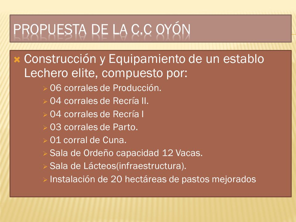 Construcción y Equipamiento de un establo Lechero elite, compuesto por: 06 corrales de Producción. 04 corrales de Recría II. 04 corrales de Recría I 0