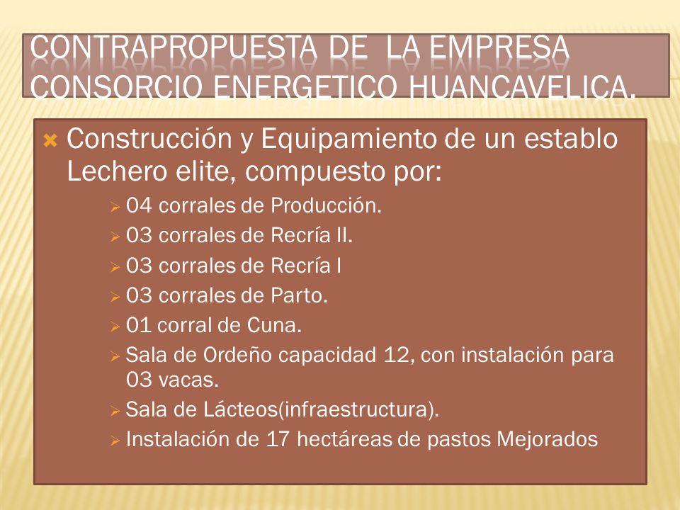 Construcción y Equipamiento de un establo Lechero elite, compuesto por: 04 corrales de Producción. 03 corrales de Recría II. 03 corrales de Recría I 0
