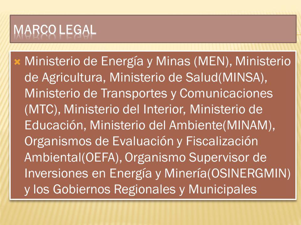 Ministerio de Energía y Minas (MEN), Ministerio de Agricultura, Ministerio de Salud(MINSA), Ministerio de Transportes y Comunicaciones (MTC), Minister