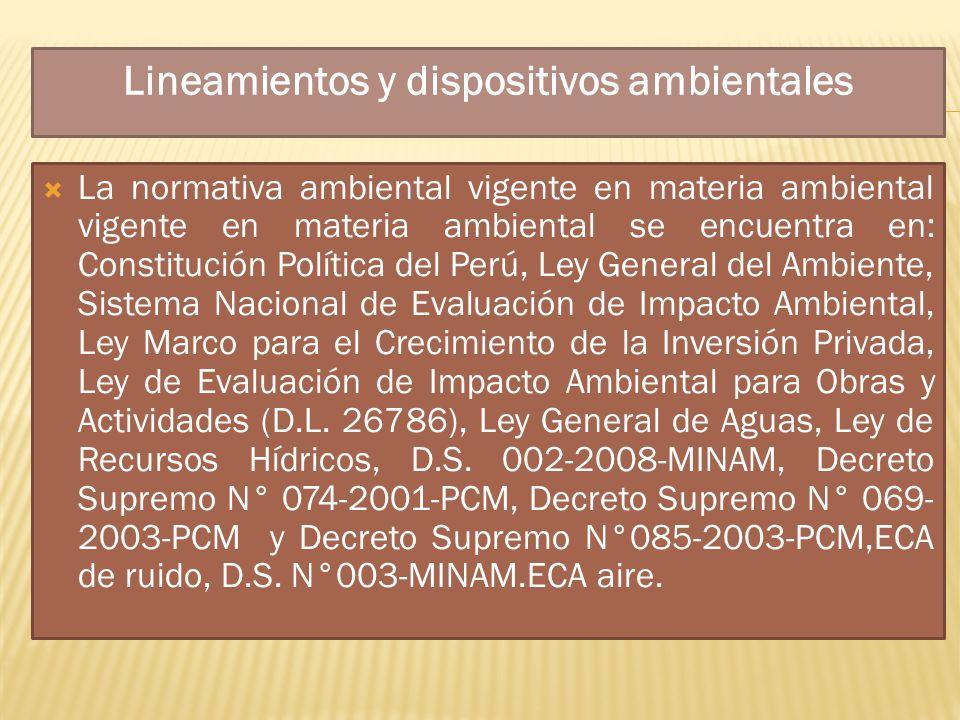 Normas y Criterios Internacionales El gobierno del Perú ha participado en varios acuerdos y convenios internacionales que tienen un impacto directo o indirecto en la industria minera del país.